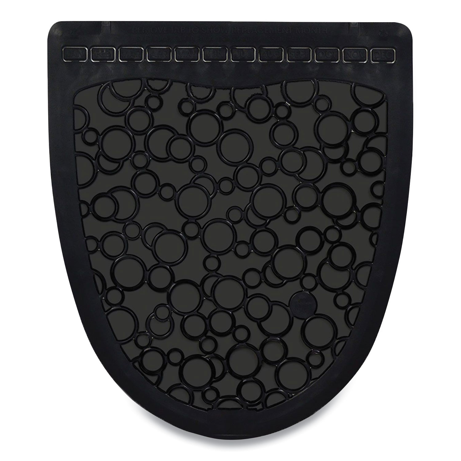 Fresh Products P-Shield Urinal Safety Mat, Wedge, 22.63 x 22.25, Black, 6/Carton
