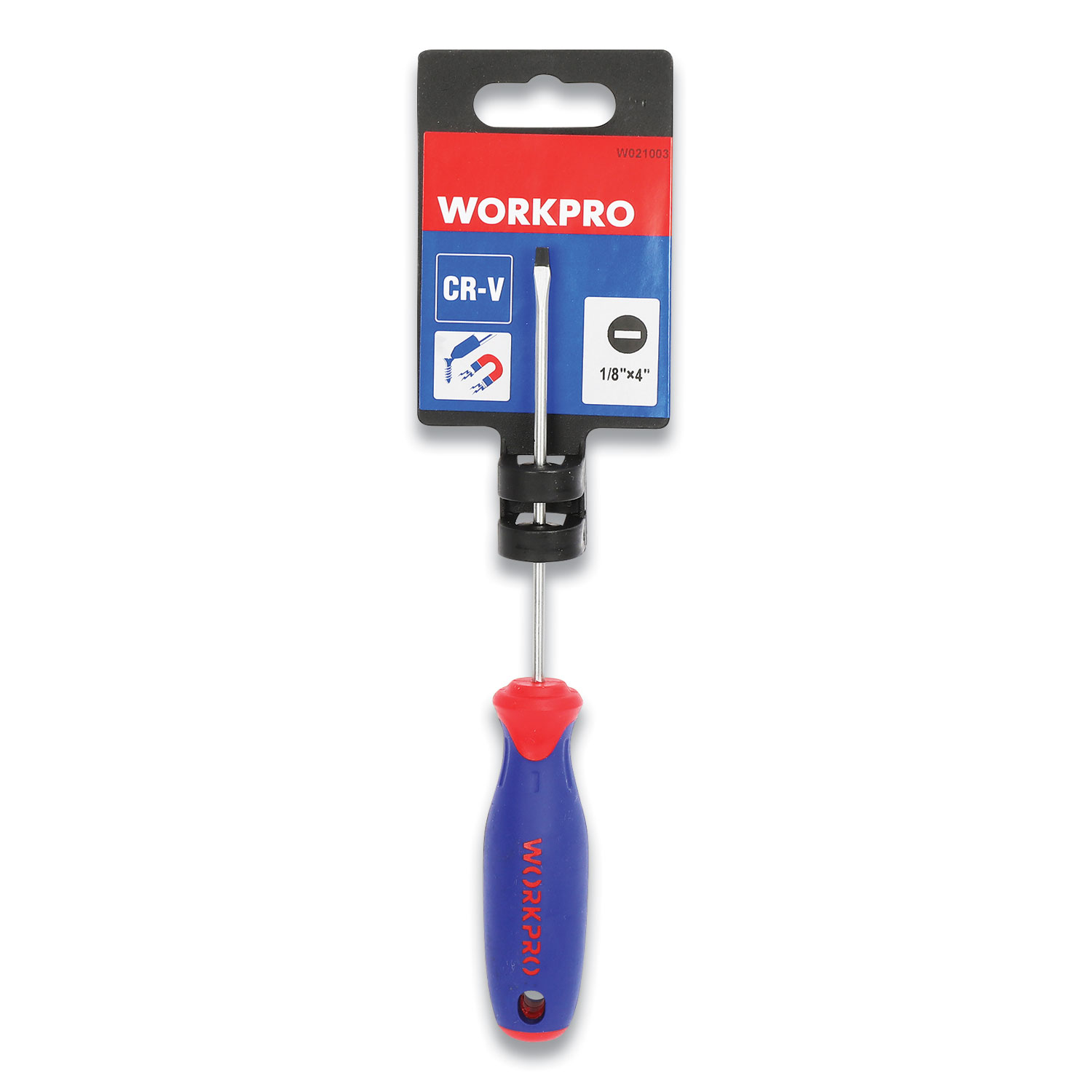 Workpro® Straight-Handle Cushion-Grip Screwdriver, 1/8 Slotted Tip, 4 Shaft