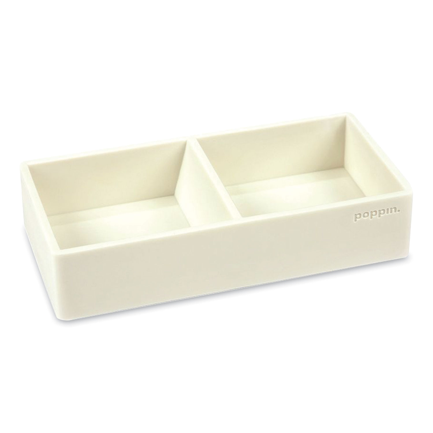 Poppin Softie This + That Tray, 2-Compartment, 3 x 6.25 x 1.5, White