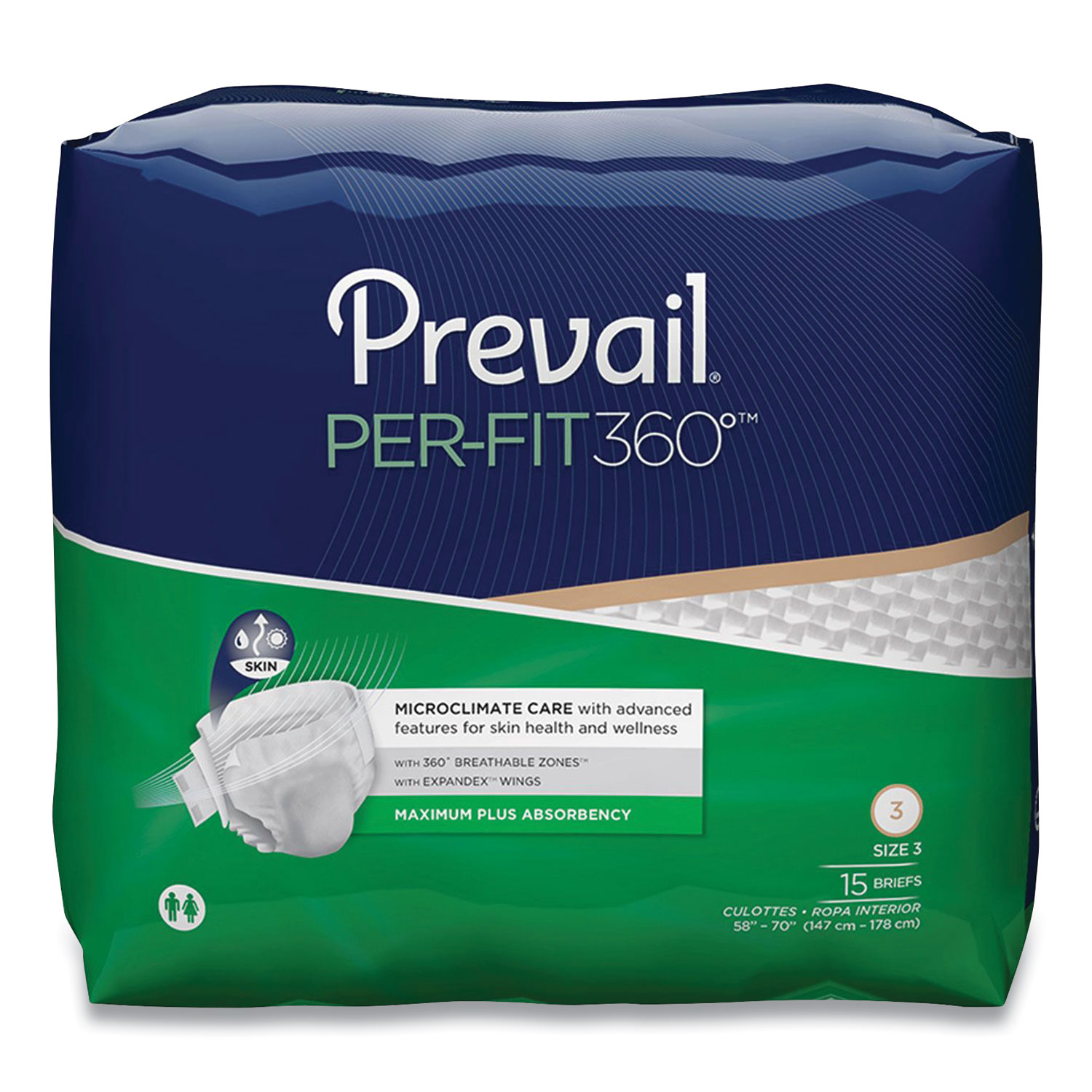 Prevail® Per-Fit360 Degree Briefs, Maximum Plus Absorbency, Size 3, 58 to 70 Waist, 60/Carton