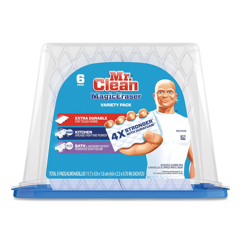 Mr. Clean® Magic Eraser Variety Pack, 2.4 x 4.6, Extra Durable; Bath; Kitchen, White/Blue, 6/Pack, 3 Packs/Carton
