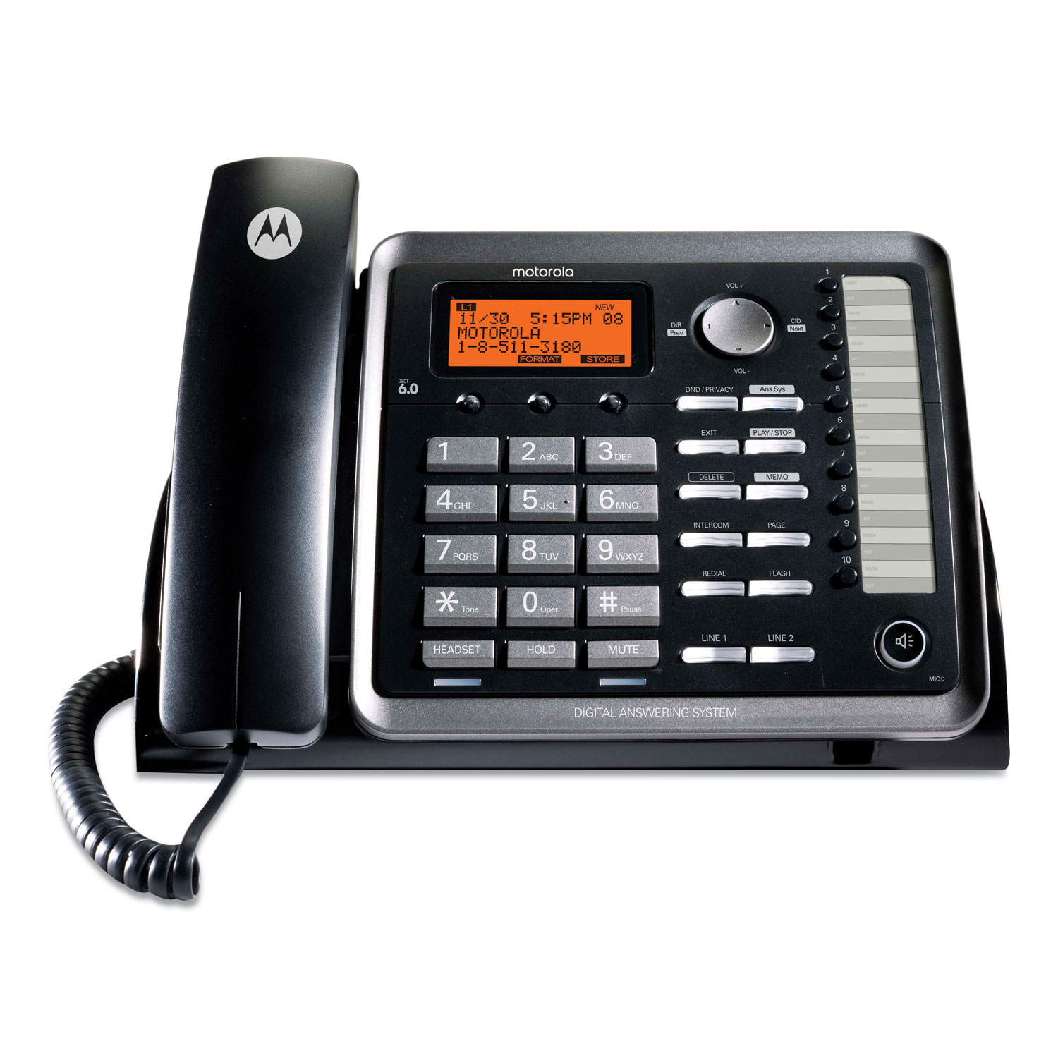 RCA® Two-Line Corded Speakerphone, Expandable Up To 10 Cordless Handsets