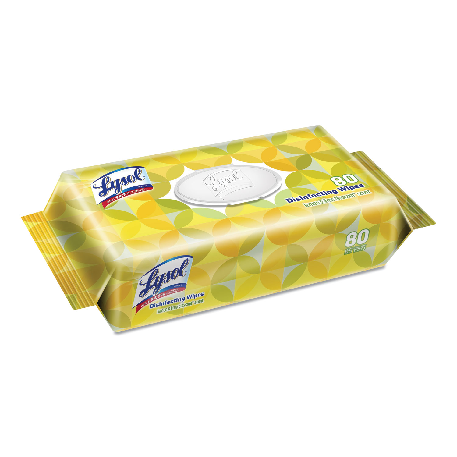 LYSOL® Brand Disinfecting Wipes Flatpacks, 6.75 x 8.5, Lemon and Lime Blossom, 80 Wipes/Flat Pack, 6 Flat Packs/Carton