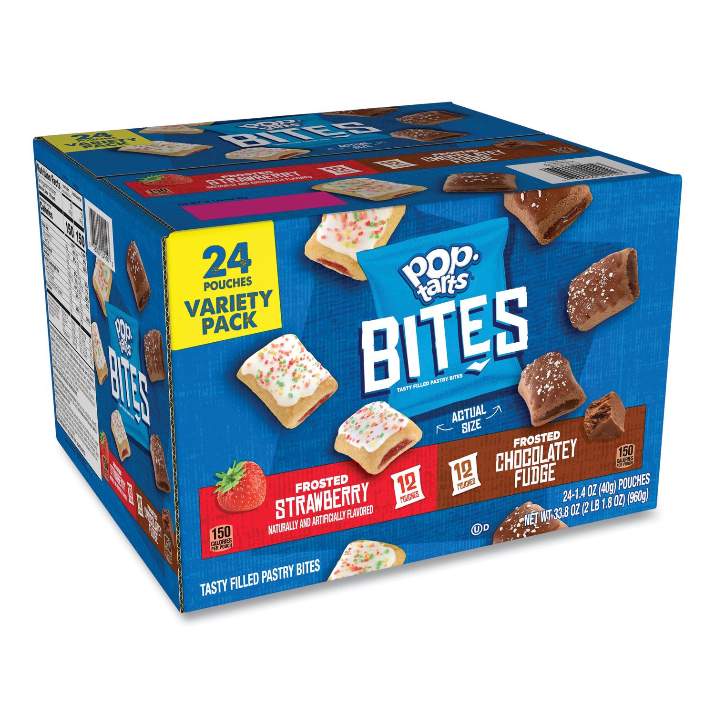Kelloggs® Pop Tarts Bites Variety Pack, Chocolate; Strawberry, 1.4 oz Pouch, 24/Carton