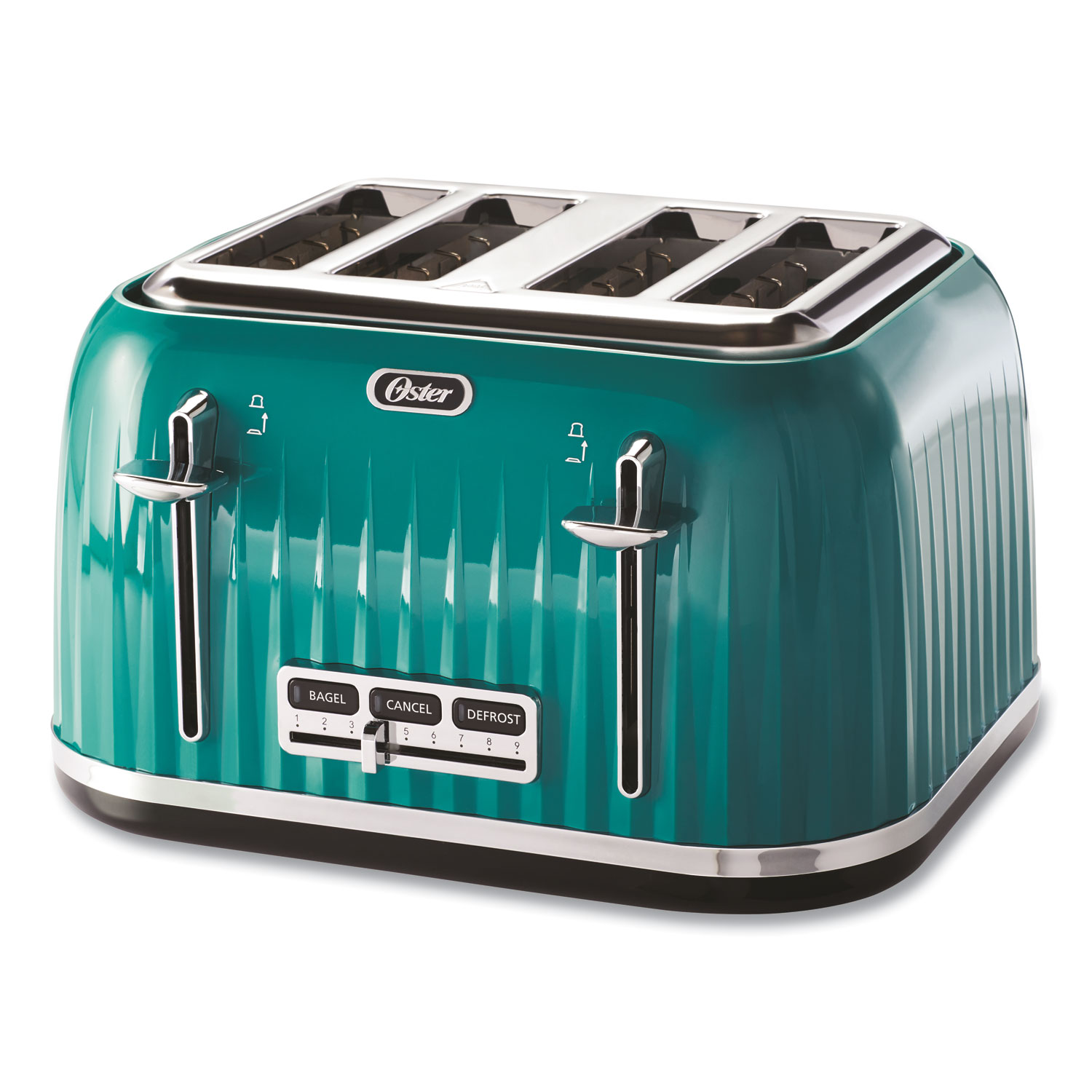 Oster® 4-Slice Toaster with Textured Design with Chrome Accents, 12 x 13 x 8, Teal