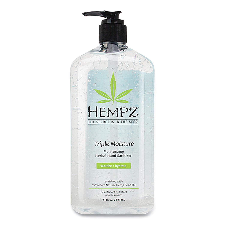 Hempz® Antibacterial Triple Moisture Gel Hand Sanitizer, 21 oz Pump Bottle, Enhanced Grapefruit and Sparkling Peach