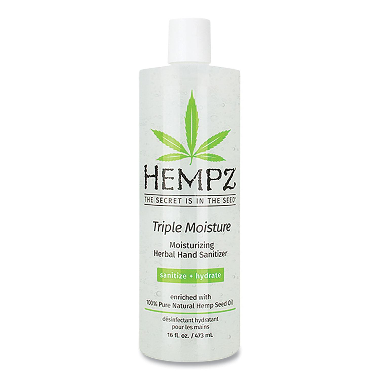 Hempz® Antibacterial Triple Moisture Gel Hand Sanitizer, 16 oz Bottle, Enhanced Grapefruit and Sparkling Peach