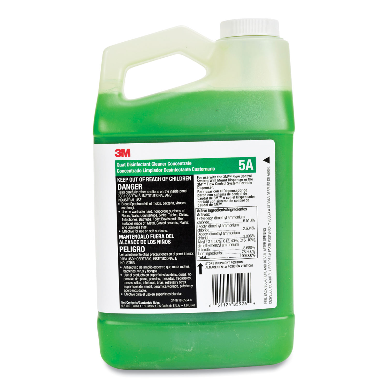 3M™ HB Quat Disinfectant Cleaner Concentrate, 5A for the Flow Control System, 64 oz Bottle, 4/Carton