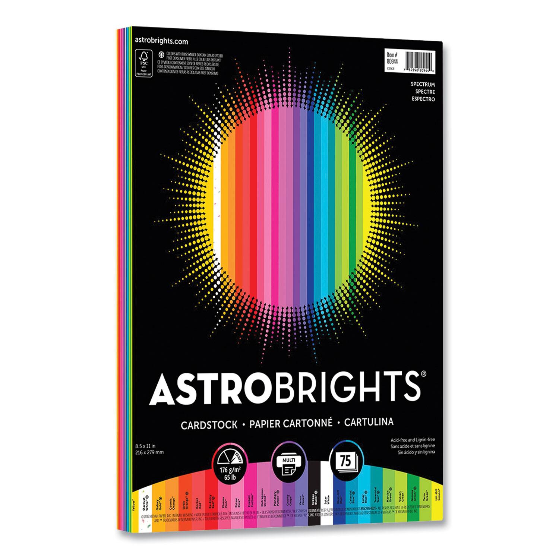 Astrobrights® Color Cardstock, 65 lb, 8.5 x 11, Assorted Spectrum Colors, 75/Pack