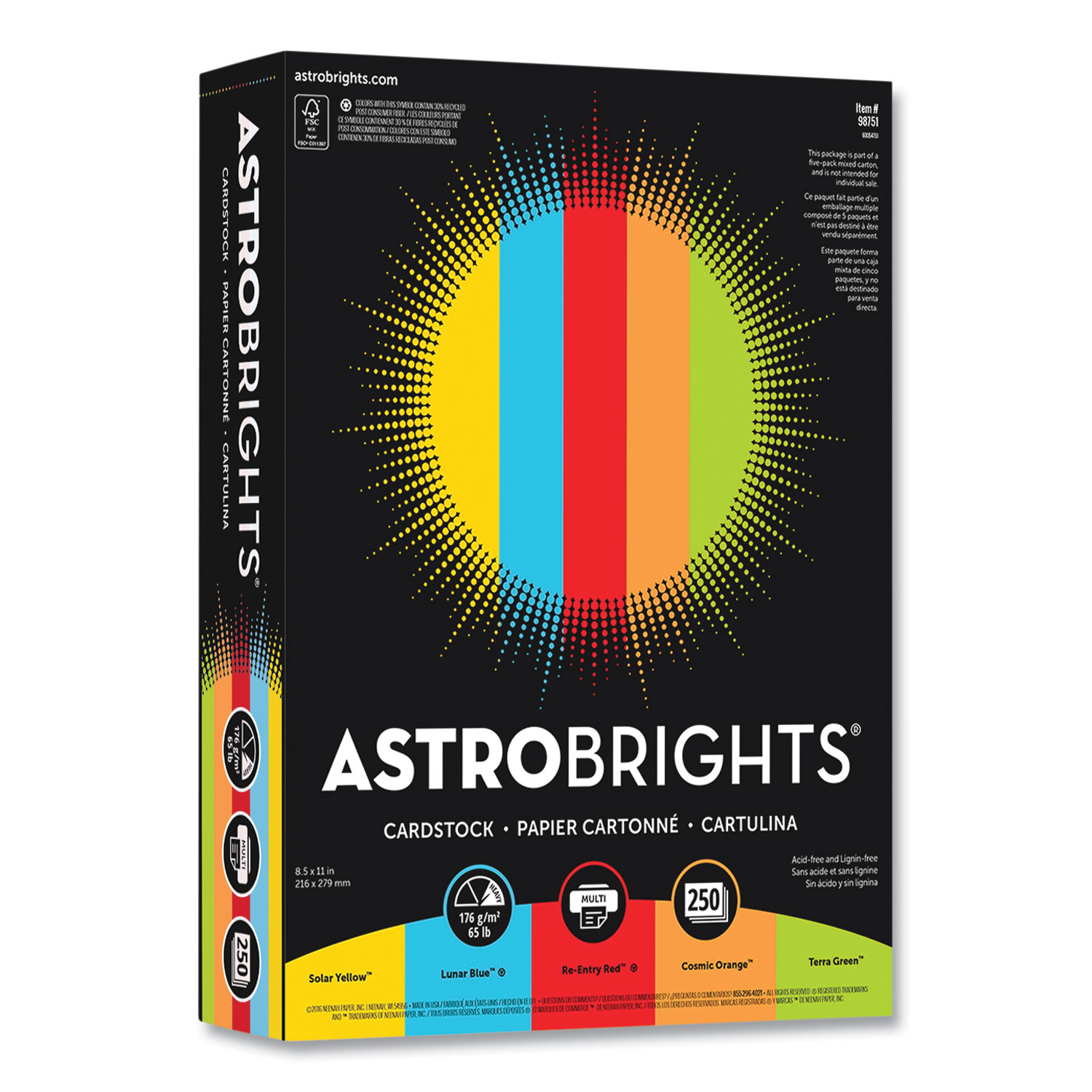 Astrobrights® Color Cardstock, 65 lb, 8.5 x 11, Assorted Colors, 1,250/Pack