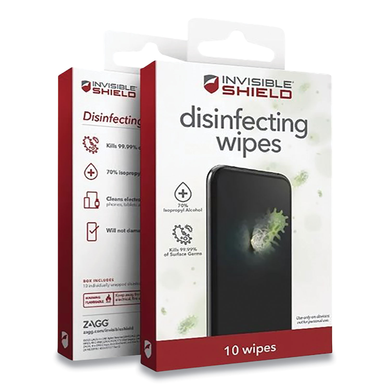 ZAGG® InvisibleShield Disinfecting Wipes for Electronic Devices, Spun Fiber, 3 x 3, 10/Pack