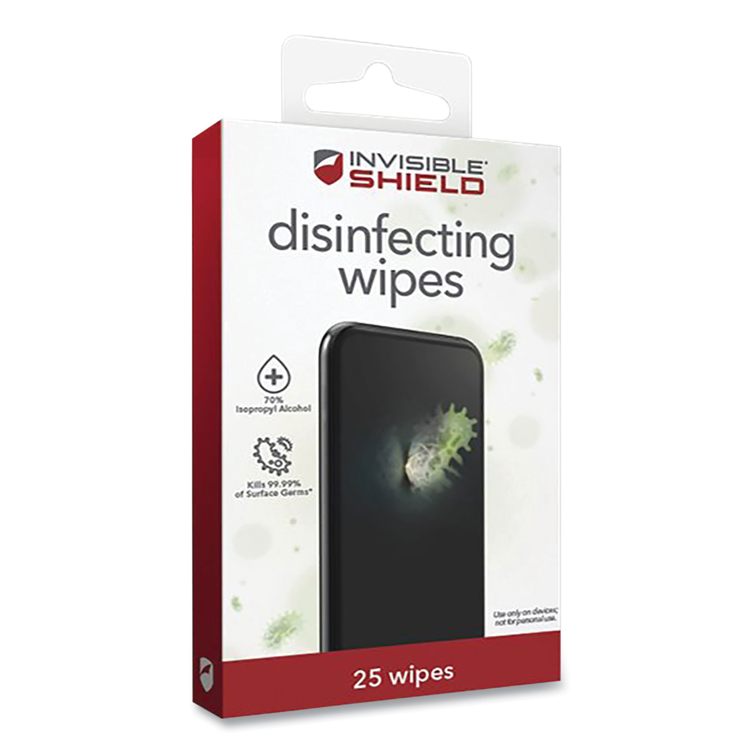ZAGG® InvisibleShield Disinfecting Wipes for Electronic Devices, Spun Fiber, 3 x 3, 25/Pack