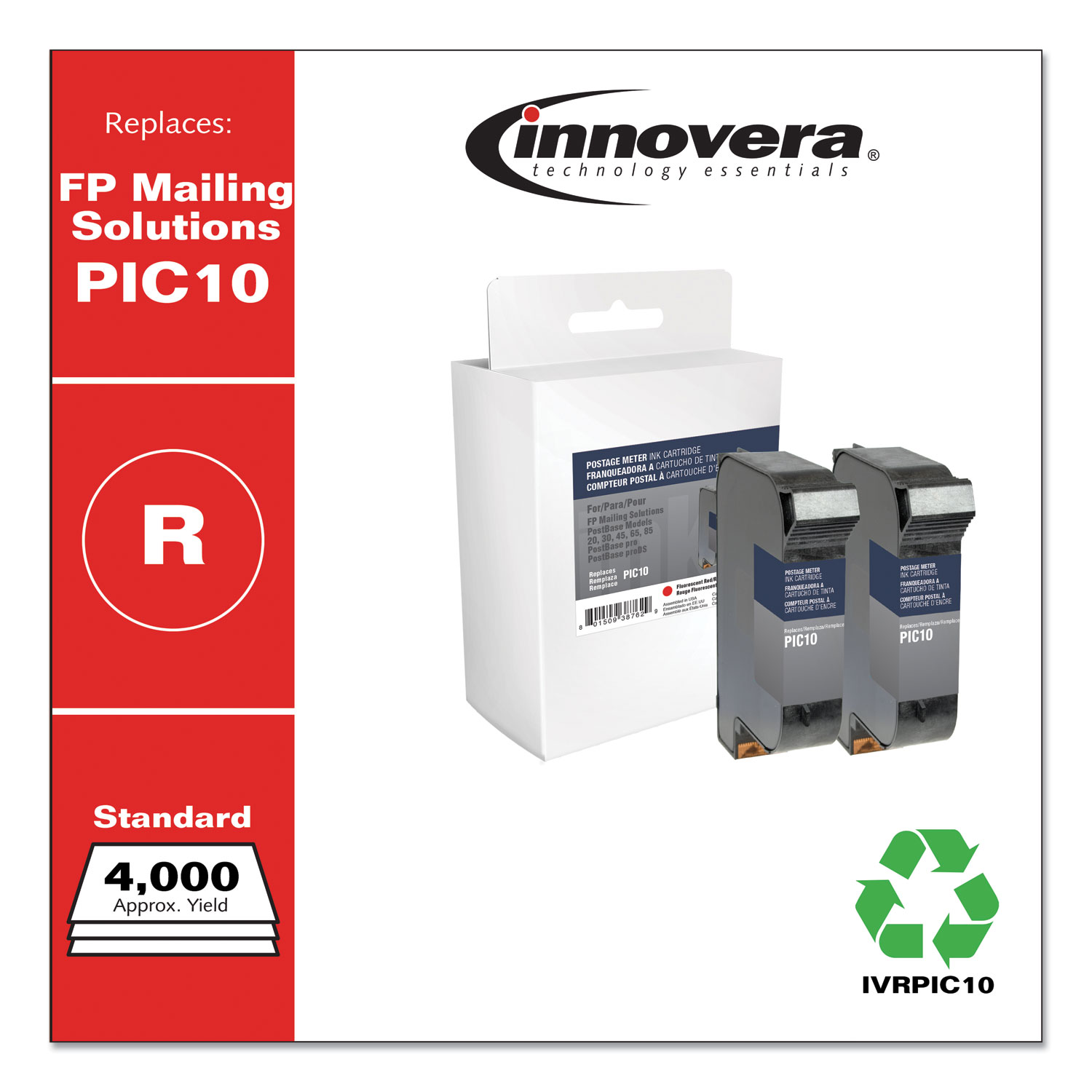 Innovera® Compatible Red Postage Meter Ink, Replacement for FP Mailing Solutions PIC10, 4,000 Page-Yield, 2/Pack