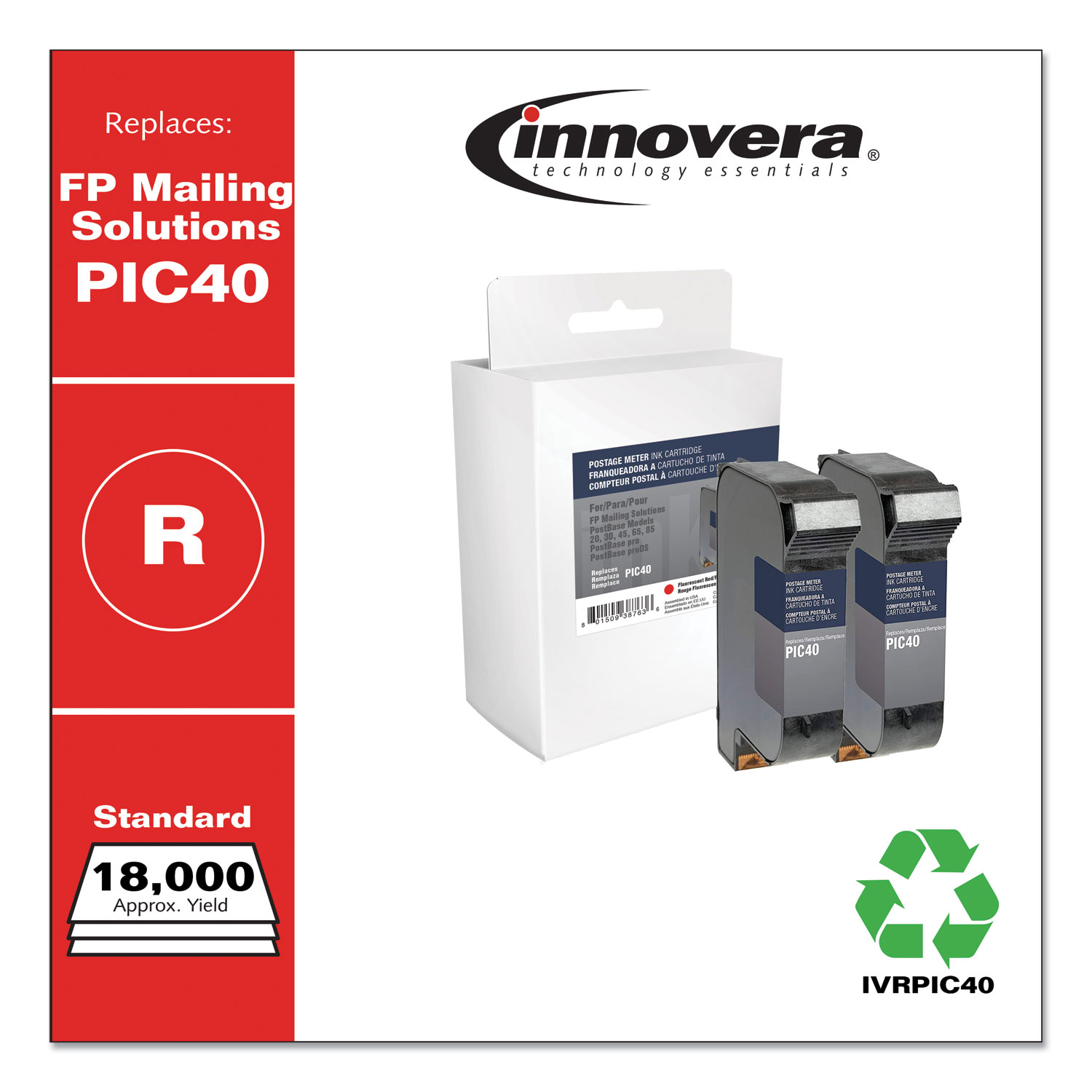 Innovera® Compatible Red Postage Meter Ink, Replacement for FP Mailing Solutions PIC40, 18,000 Page-Yield, 2/Pack