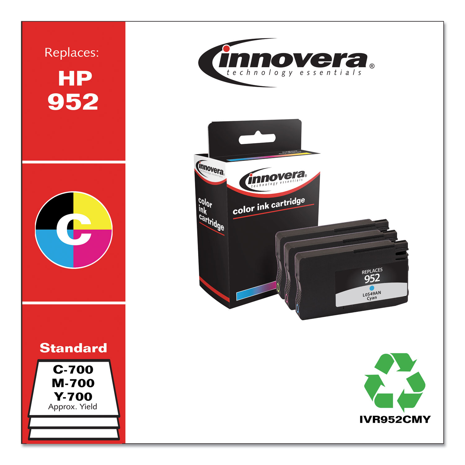 Innovera® Remanufactured Cyan/Magenta/Yellow Ink, Replacement for HP 952 (N9K27AN), 700 Page-Yield