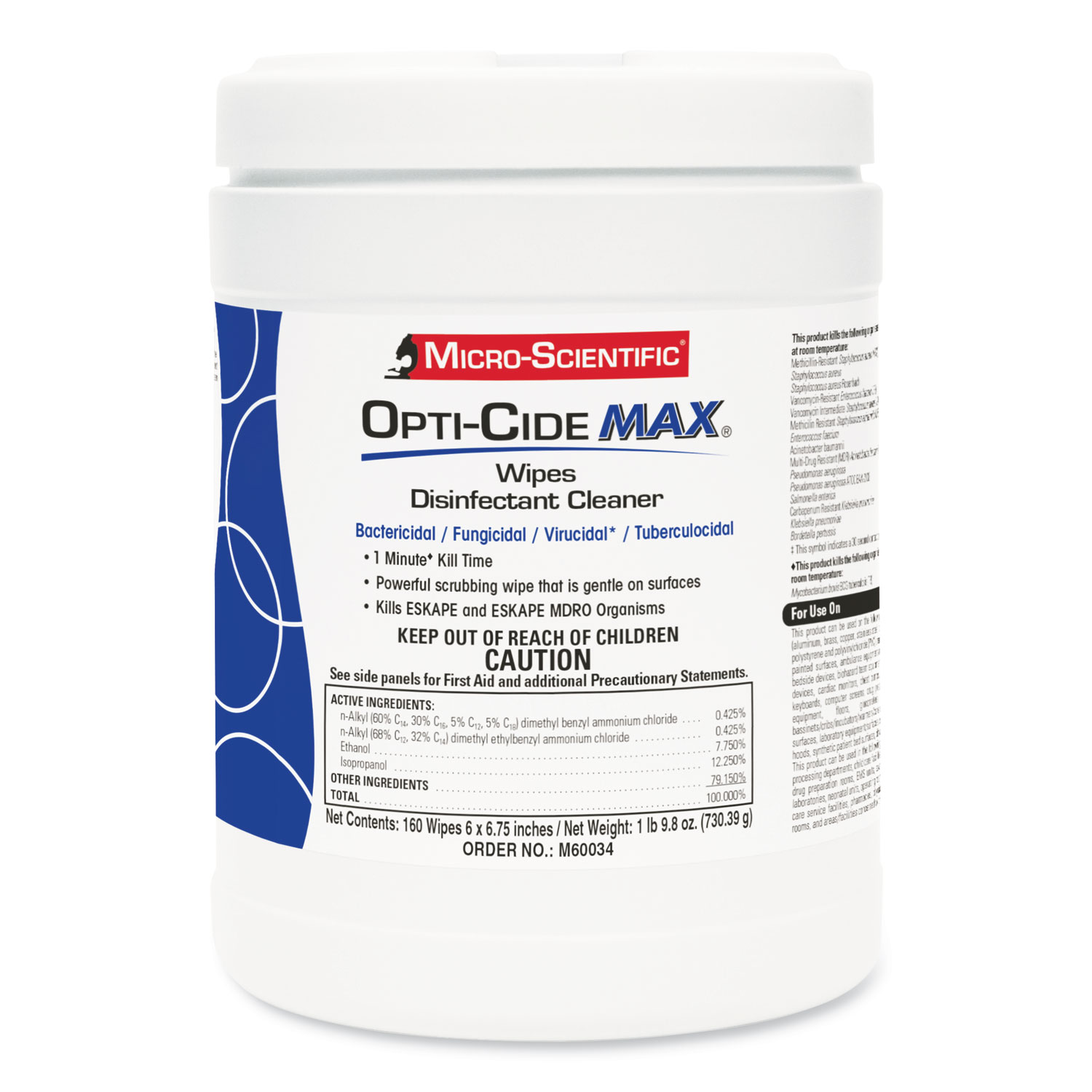 Opti-Cide® Max Disinfectant Wipes, 6 x 6.75, White, 160/Canister