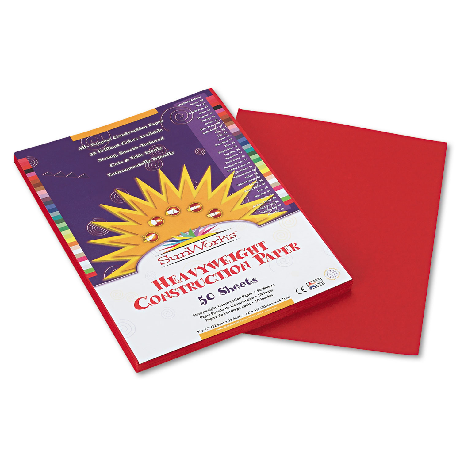 Construction Paper, 58lb, 9 x 12, Red, 50/Pack