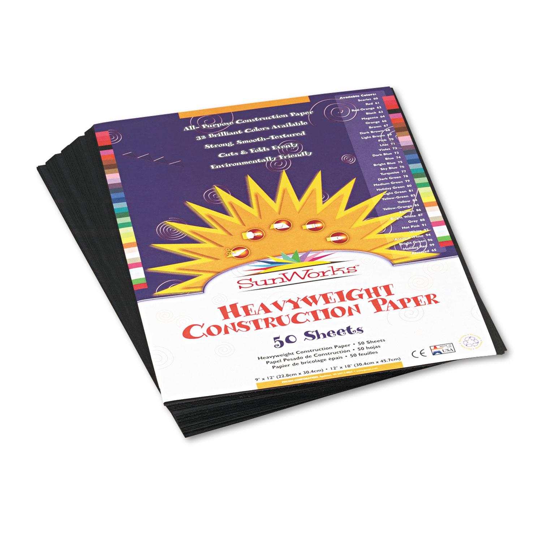 Construction Paper, 58lb, 9 x 12, Black, 50/Pack