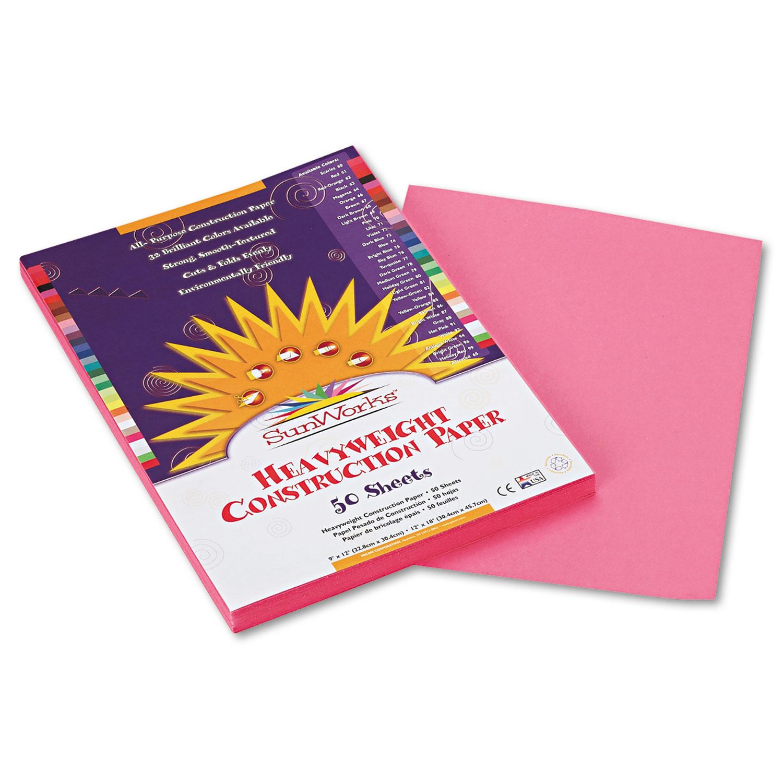 Construction Paper, 58lb, 9 x 12, Pink, 50/Pack