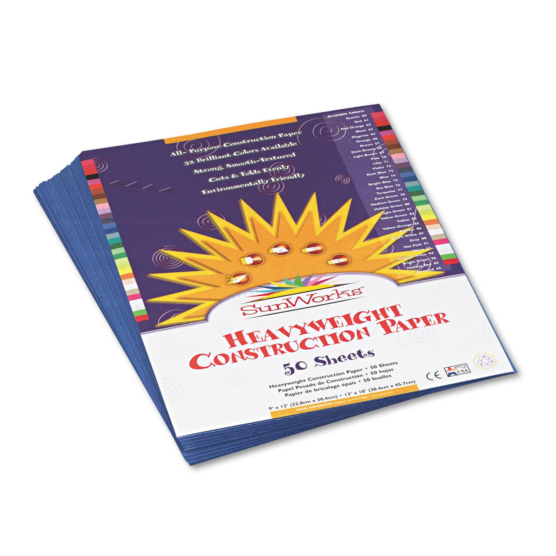 Construction Paper, 58lb, 9 x 12, Blue, 50/Pack