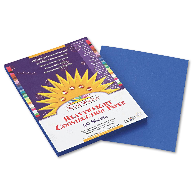 Construction Paper, 58lb, 9 x 12, Bright Blue, 50/Pack