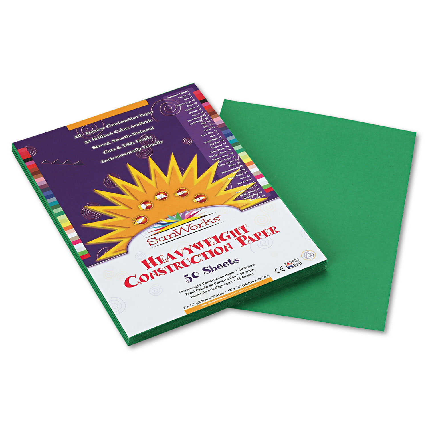 Construction Paper, 58lb, 9 x 12, Holiday Green, 50/Pack