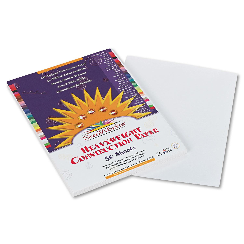 Construction Paper, 58lb, 9 x 12, White, 50/Pack
