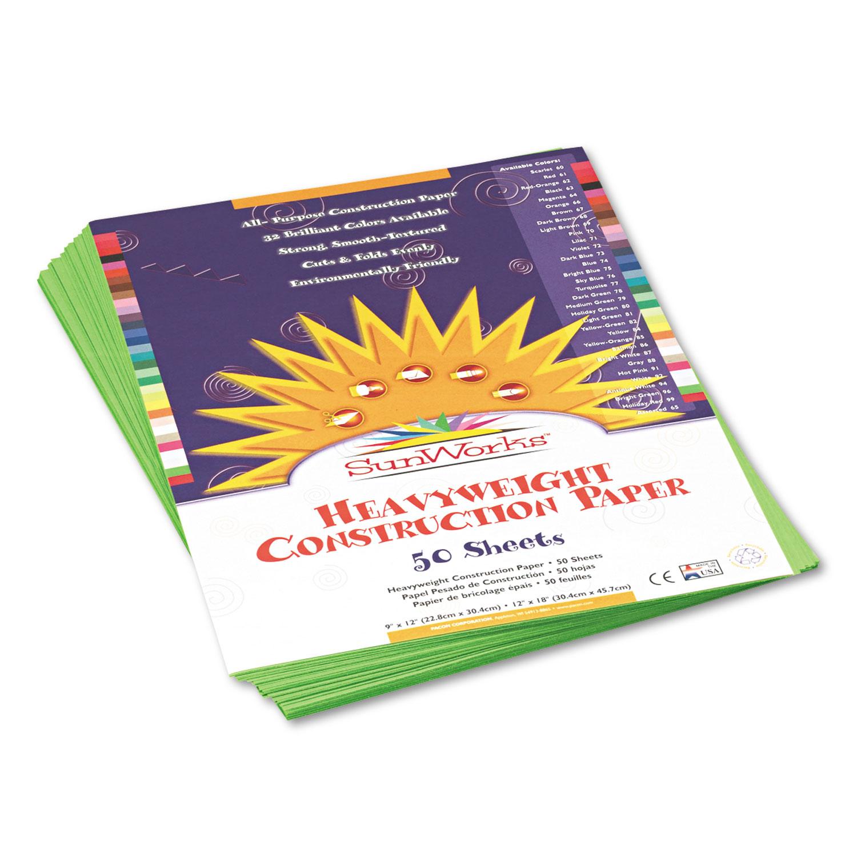 Construction Paper, 58lb, 9 x 12, Bright Green, 50/Pack