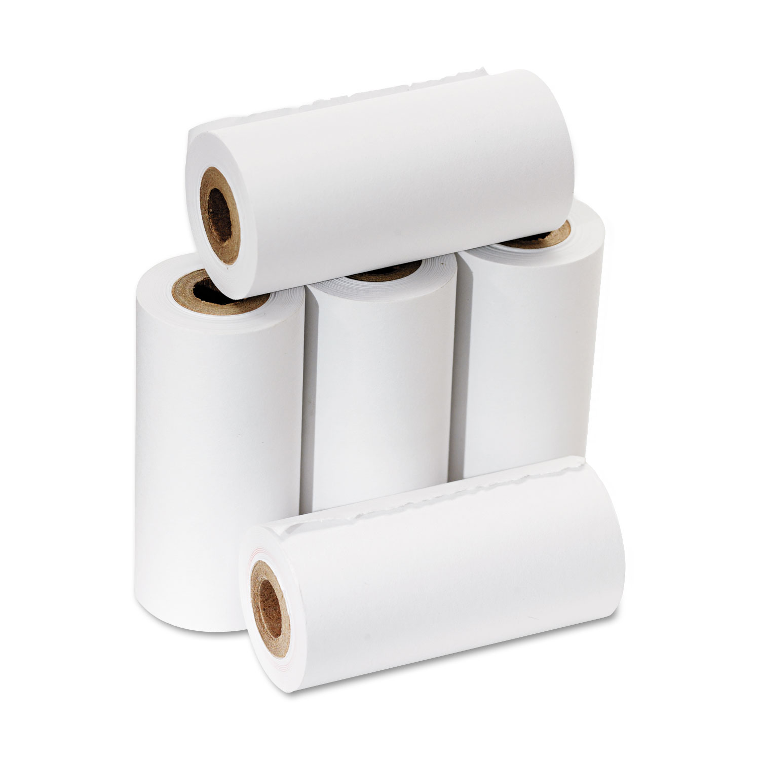 One Ply Adding Machine/Calculator Rolls, 2 1/4 x 17 ft, White, 5/Pack