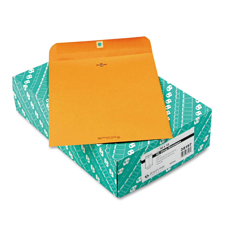 Clasp Envelope, #97, Cheese Blade Flap, Clasp/Gummed Closure, 10 x 13, Brown Kraft, 100/Box