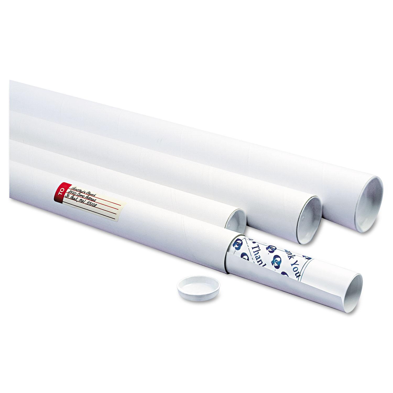 """White Mailing Tubes, 36"""" Long, 3"""" Diameter, White, 25/Carton"""