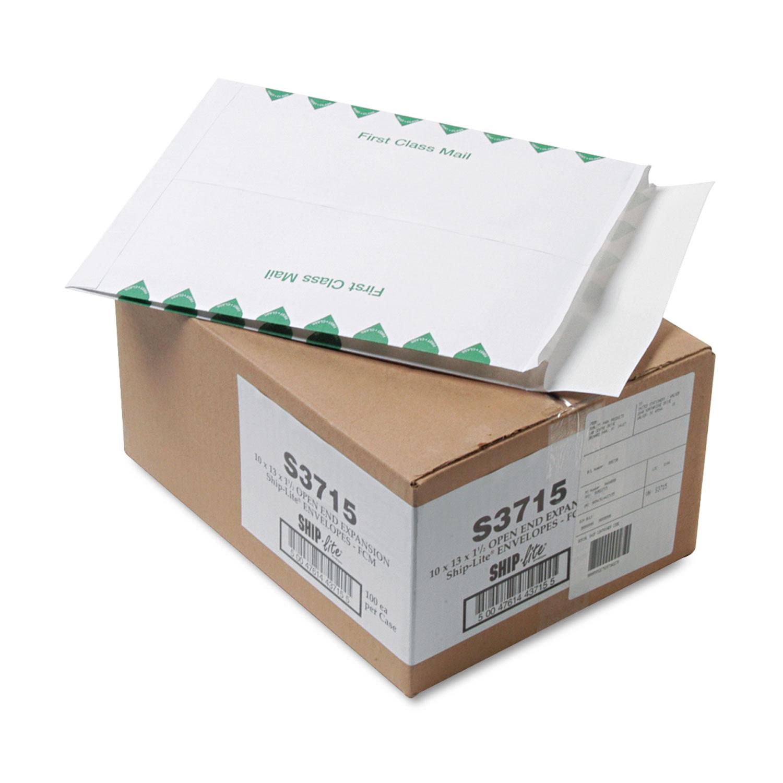 Ship-Lite Expansion Mailer, #13 1/2, Cheese Blade Flap, Redi-Strip Closure, 10 x 13, White, 100/Box