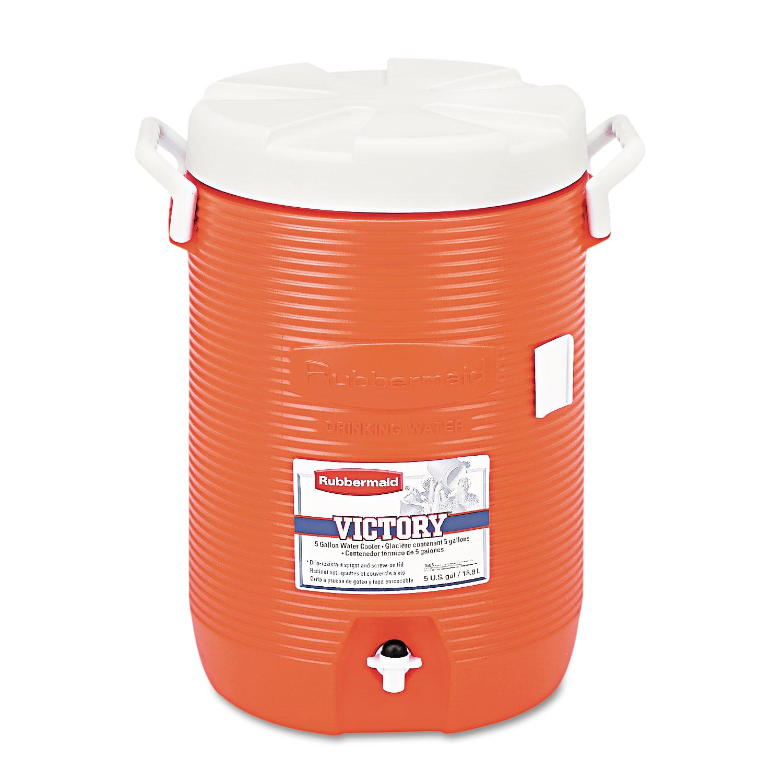 Insulated Water Cooler, 5 Gal, Orange, 10Dia x 19 1/2H, Polyethylene