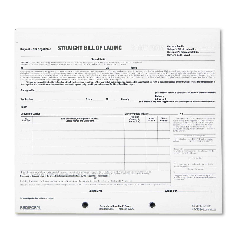 Straight Bill Of Lading Short Form Free