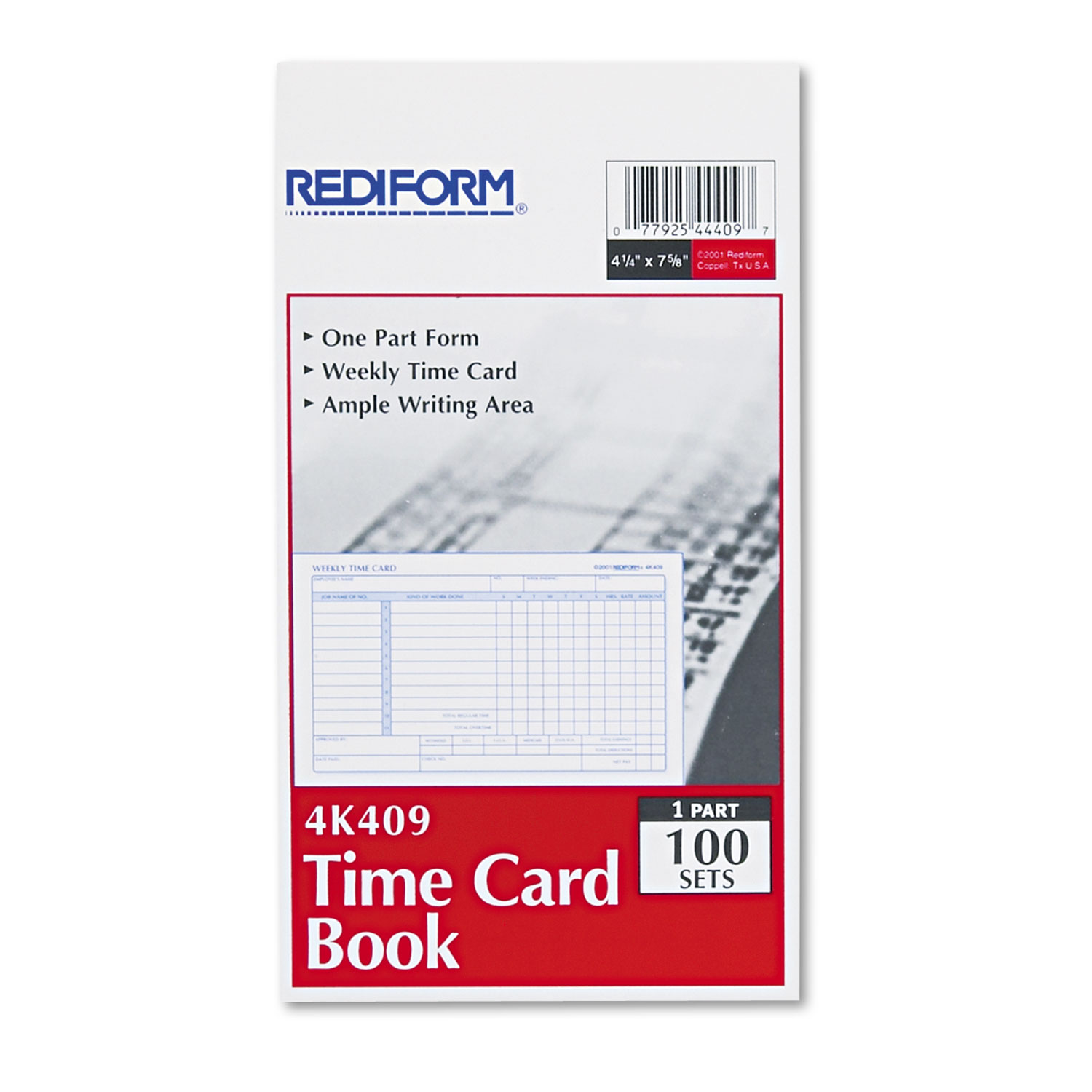 red4k409 rediform u00ae employee time card