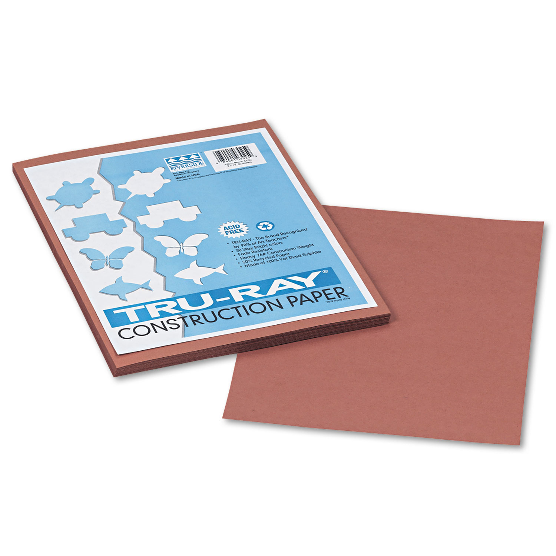 Tru-Ray Construction Paper, 76lb, 9 x 12, Warm Brown, 50/Pack