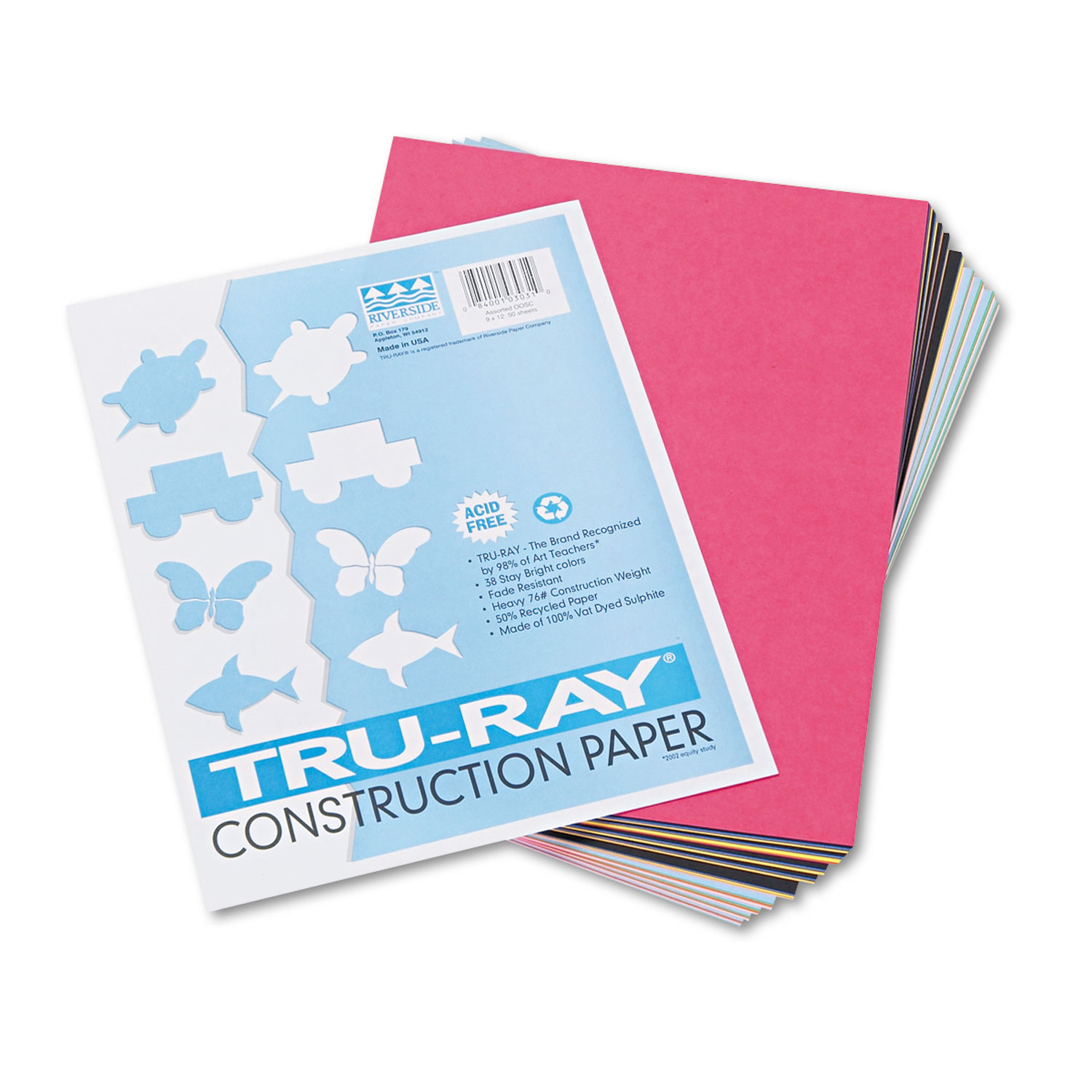 PAC103030 Pacon Tru-Ray Construction Paper Red 9 x 12 50 Sheets//Pack PK