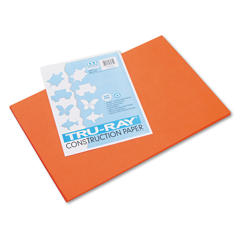 Tru-Ray Construction Paper, 76lb, 12 x 18, Orange, 50/Pack