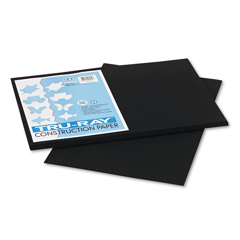 Tru-Ray Construction Paper, 76lb, 12 x 18, Black, 50/Pack