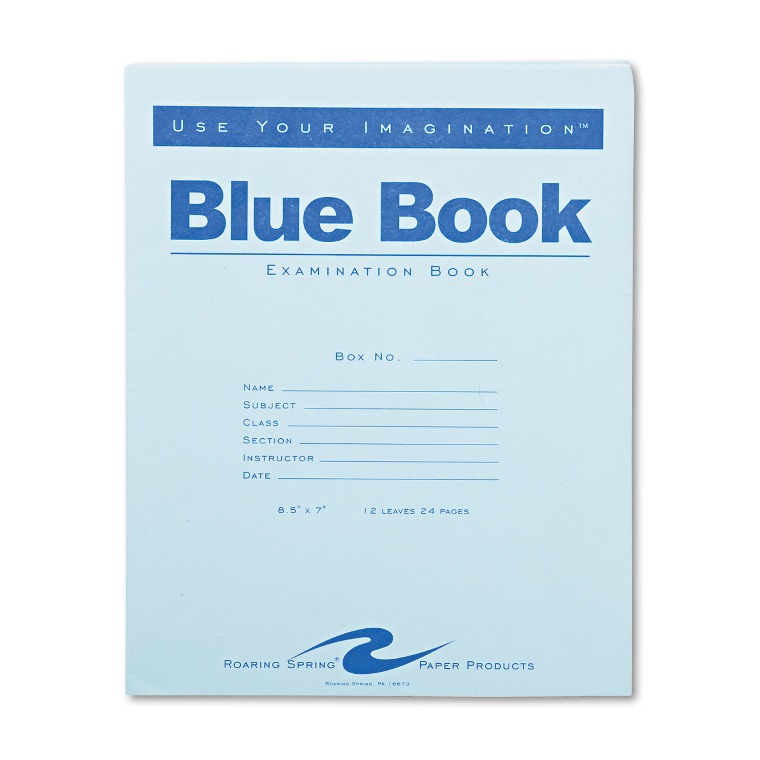 Examination Blue Book, Wide/Legal Rule, 8.5 x 7, White, 12 Sheets