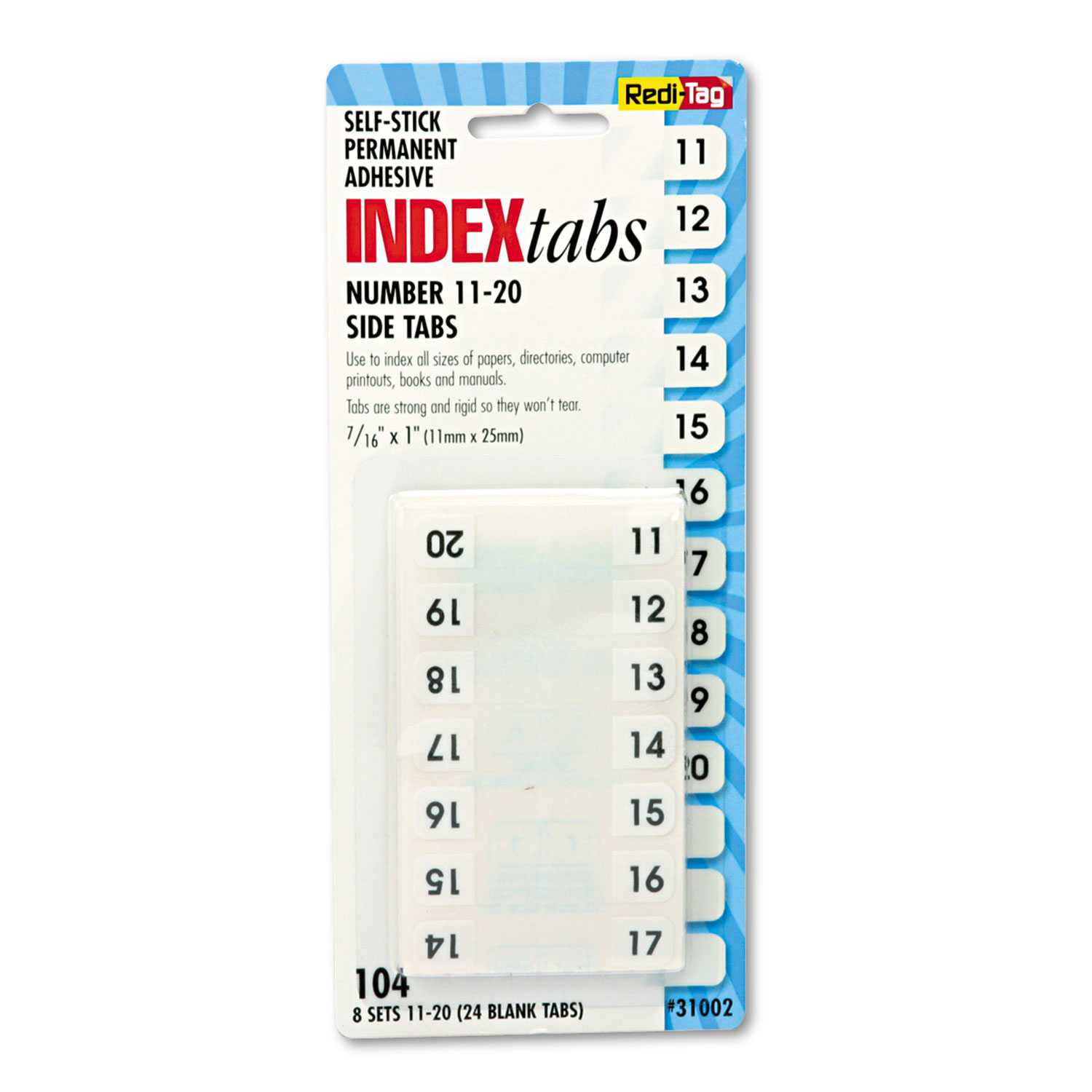 """Legal Index Tabs, 1/12-Cut Tabs, 11-20, White, 0.44"""" Wide, 104/Pack"""