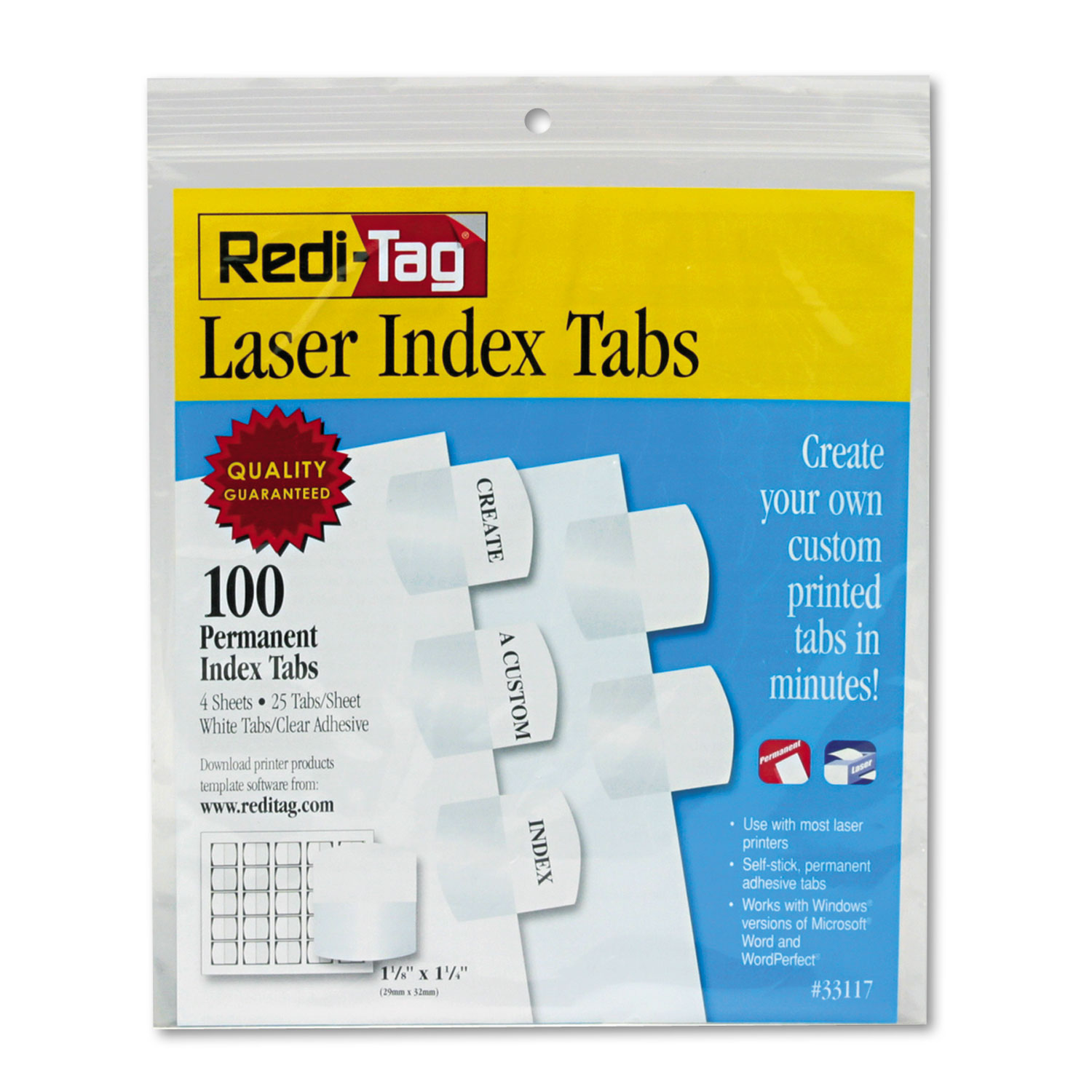 photo regarding Printable Plastic Sheet titled Laser Printable Index Tabs, 1 1/8 Inch, White, 100/Pack