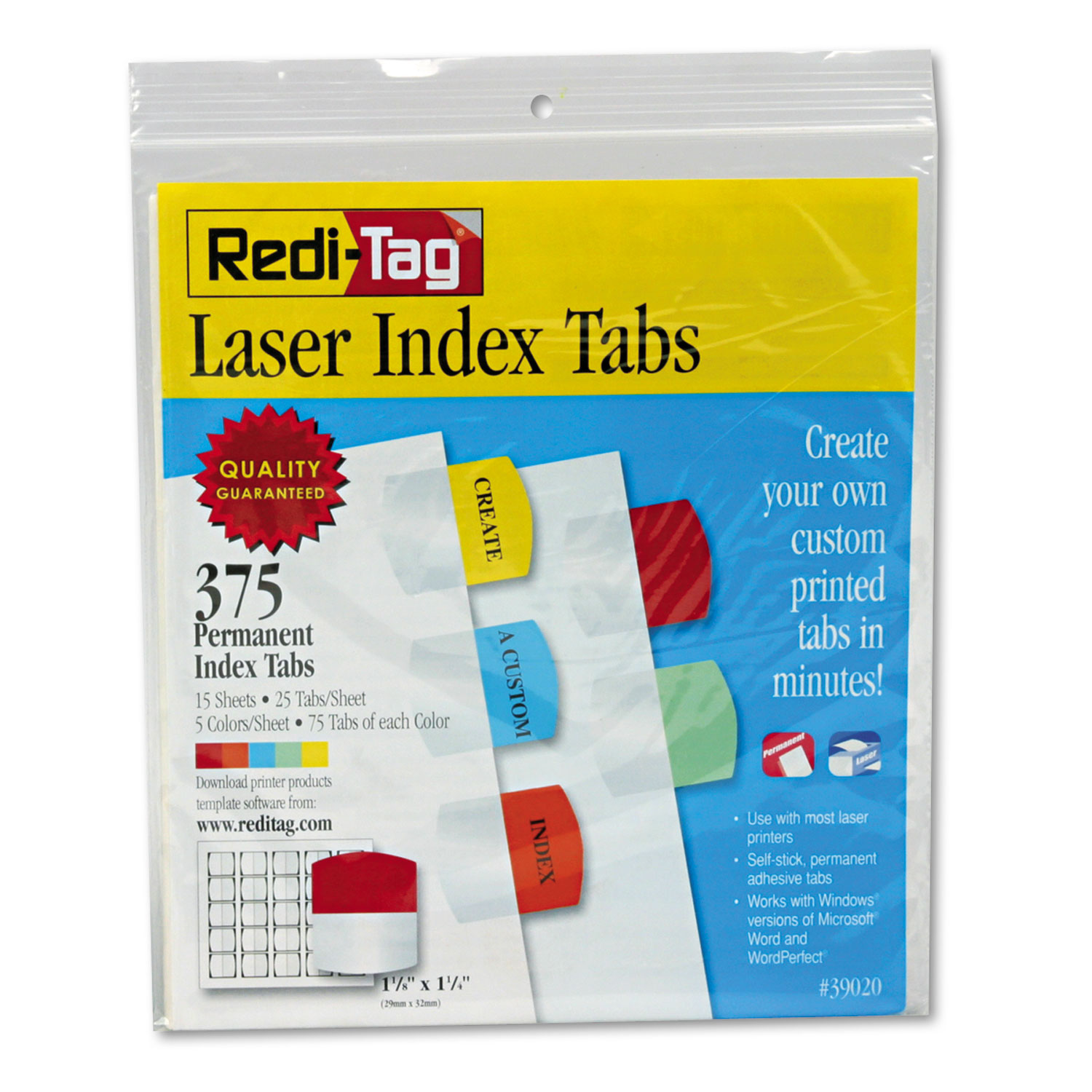 Laser Printable Index Tabs, 1 1/8 x 1 1/4, 5 Colors, 375