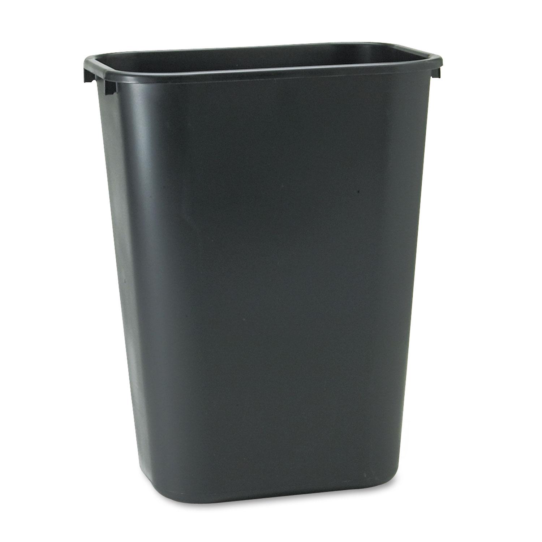 Deskside Plastic Wastebasket, Rectangular, 10.25 gal, Black