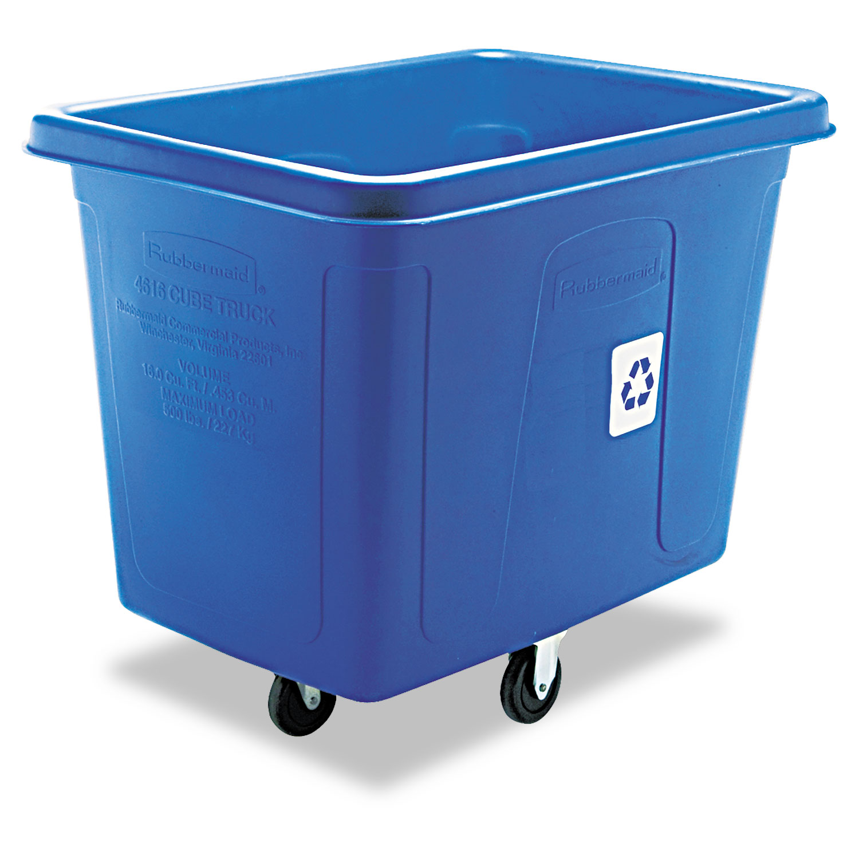 Recycling Cube Truck, Rectangular, Polyethylene, 500 lb Capacity, Blue