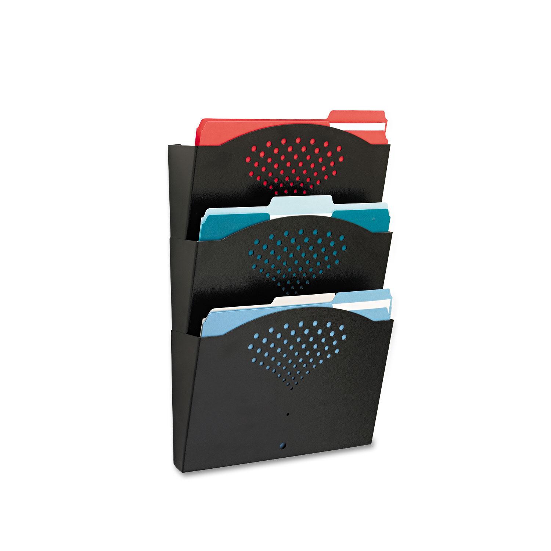 Steel Wall Pockets, Letter, Three Pocket, 12 x 3 1/4 x 17 1/4 Black