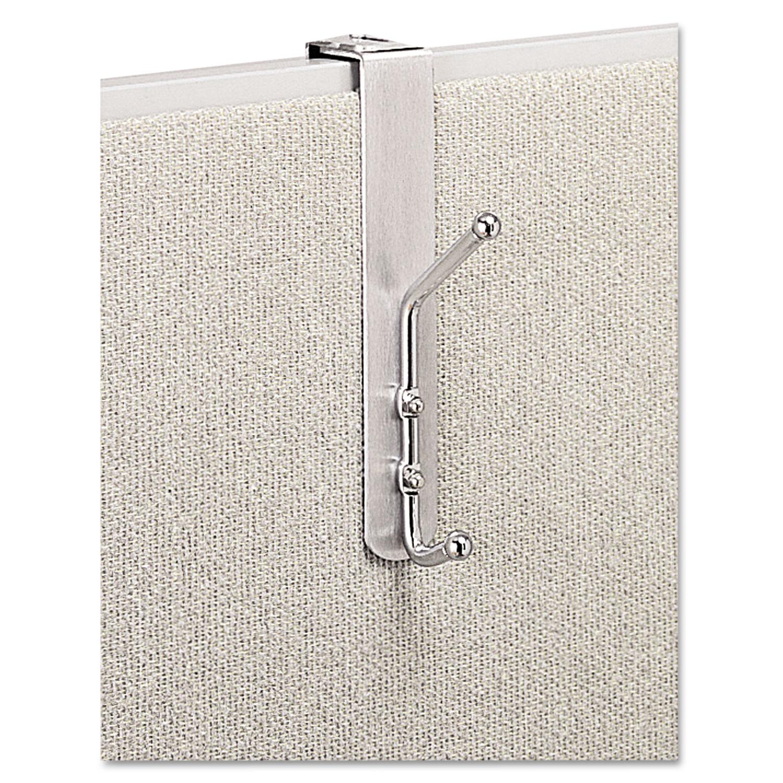Over-The-Panel Double-Garment Hook, Satin Aluminum/Chrome