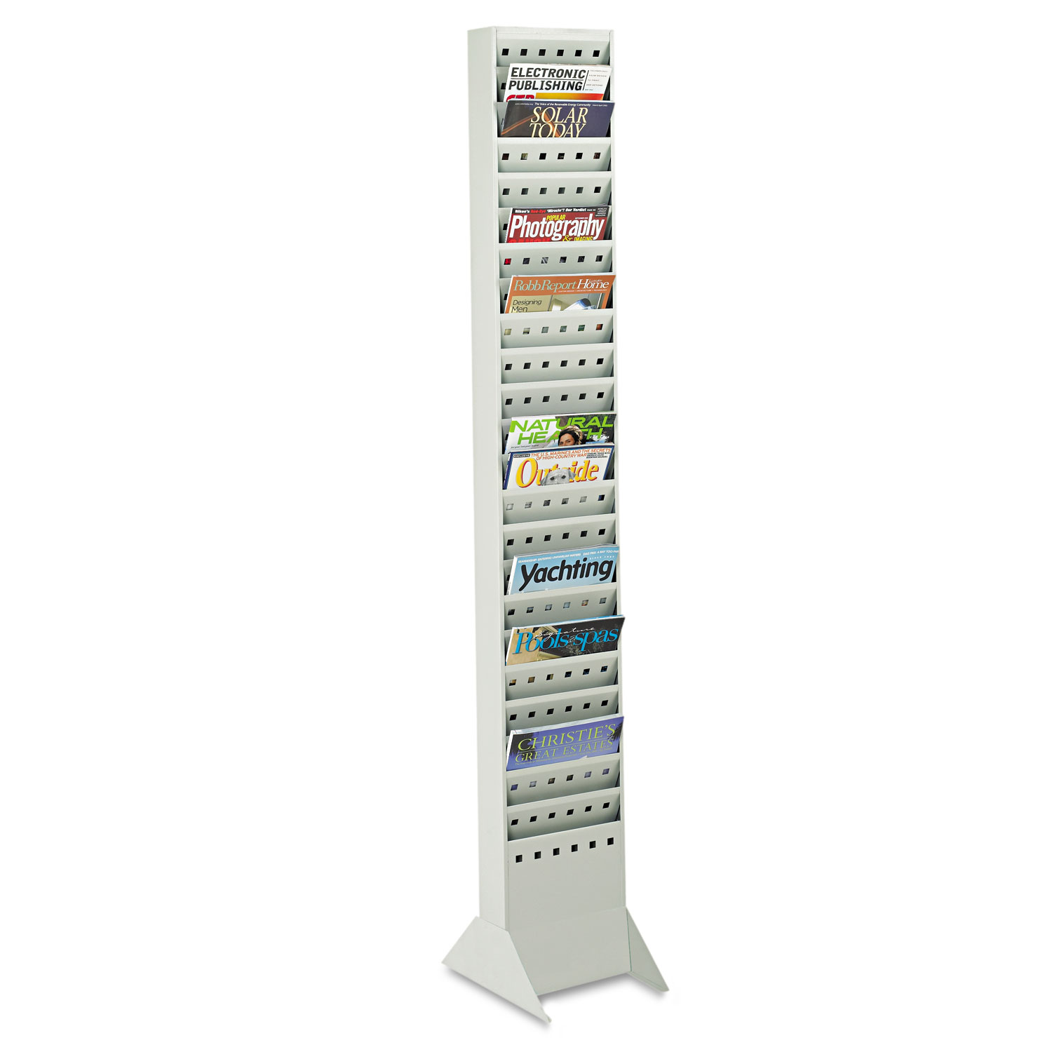 Steel Magazine Rack, 23 Compartments, 10w x 4d x 65.5h, Gray