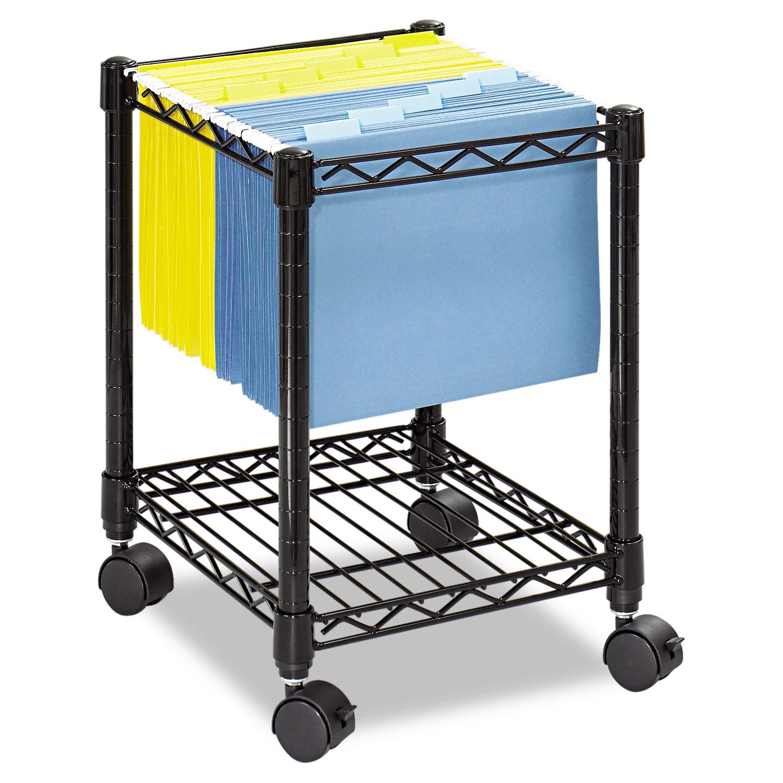 842a19dfa2f5 Compact Mobile Wire File Cart, One-Shelf, 15-1/2w x 14d x 19-3/4h, Black