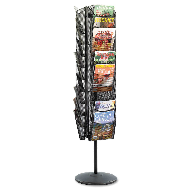Onyx Mesh Rotating Magazine Display, 30 Compartments, 16.5w x 16.5d x 66h, Black